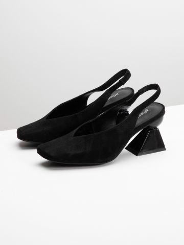 נעלי עקב זמש סיומת סיומת מרובעת