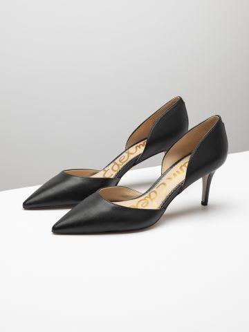 נעלי עקב סטילטו עור עם פתחים