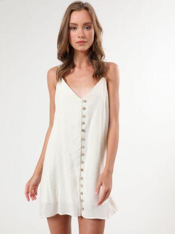 שמלת פשתן מיני עם כפתורי עץ