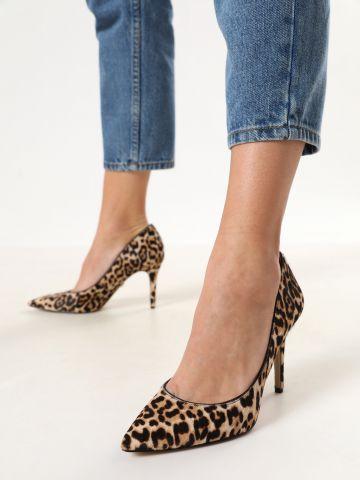 נעלי סטילטו עור בסגנון מנומר
