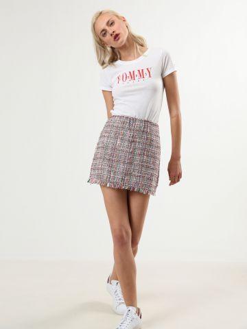 חצאית טוויד מיני מולטי קולור עם סיומת פרומה