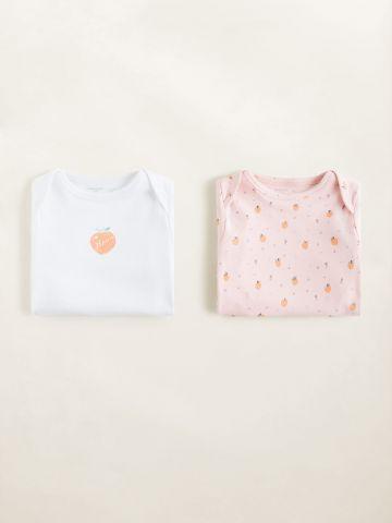 מארז 2 בגדי גוף בהדפס אפרסקים / בייבי בנות