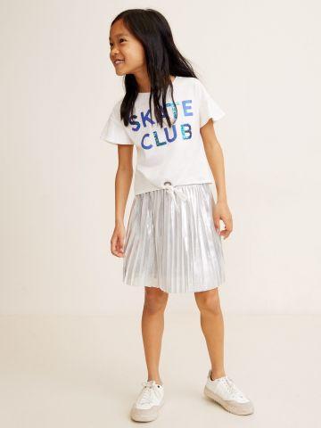 חצאית פליסה באפקט מטאלי / בנות