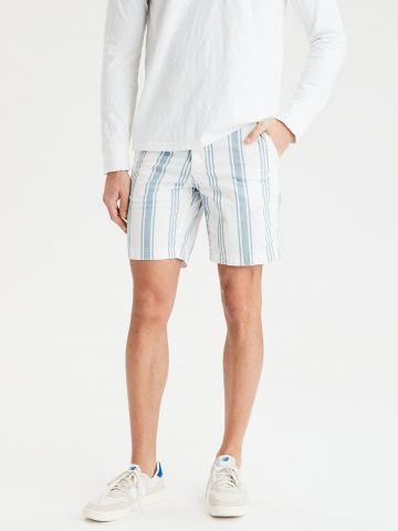 מכנסיים מחוייטים קצרים בהדפס פסים