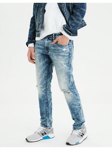 ג'ינס סלים אסיד ווש עם קרעים Slim