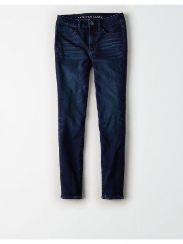 ג'ינס בשטיפה כהה עם שפשופים JEGGING CROP / נשים