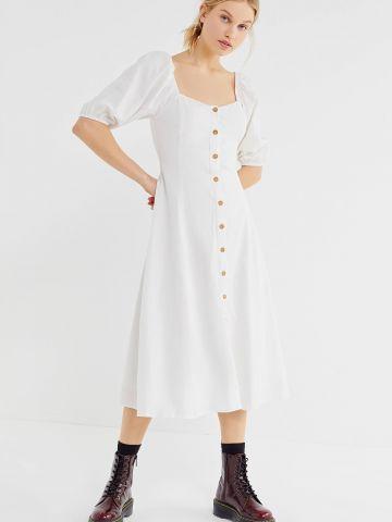 שמלת מידי עם כפתורים ושרוולי בלון UO