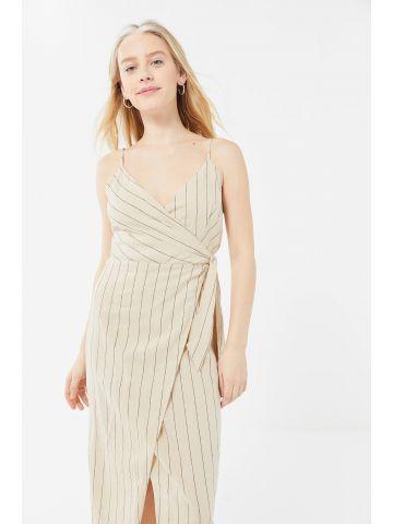 שמלת פשתן מעטפת מידי בהדפס פסים UO
