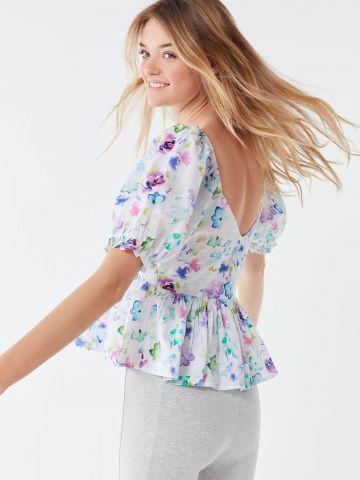 חולצת פפלום בהדפס פרחים UO