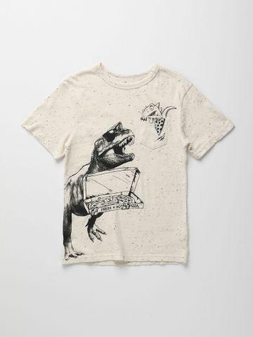 טי שירט עם הדפס דינוזאור / בנים