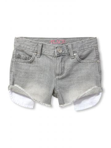 ג'ינס קצר עם סיומת פרומה / בנות