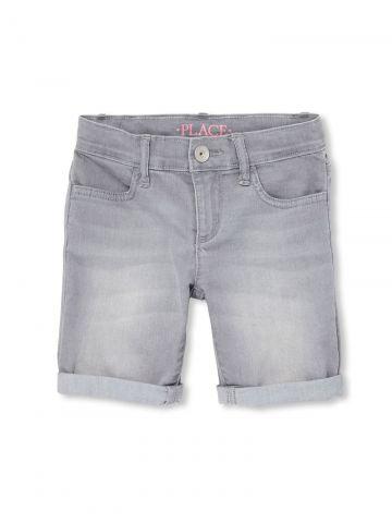 ג'ינס קצר בשטיפה בהירה / בנות
