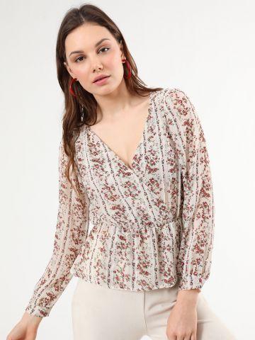 חולצה פרחונית בסגנון מעטפת