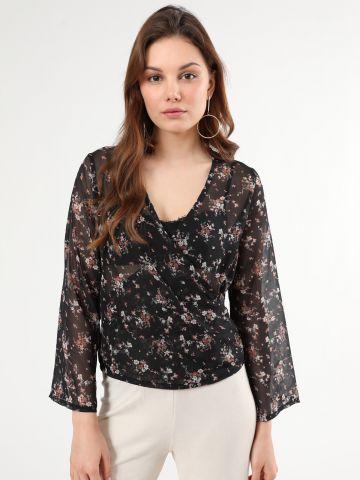 חולצת שיפון פרחים בסגנון מעטפת