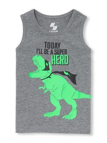 גופייה עם הדפס דינוזאור Today I'll Be A Super Hero / בייבי בנים