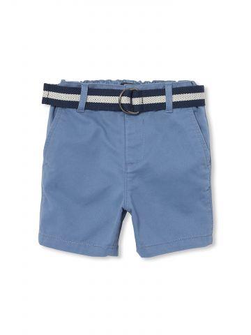 מכנסי צ'ינו קצרים עם חגורת אבזם בהדפס פסים / בייבי בנים