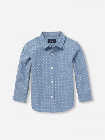 חולצה מכופתרת בדוגמת נקודות / 9M-4Y