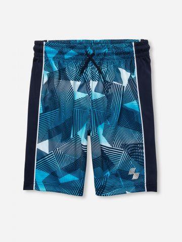 מכנסי אקטיב קצרים בהדפס גיאומטרי / בנים