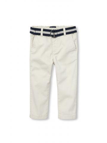מכנסי צ'ינו ארוכים עם חגורת קנבס פסים / בייבי בנים