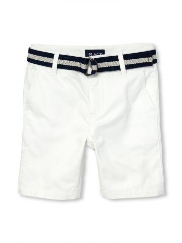 מכנסי צ'ינו קצרים עם חגורת אבזם בהדפס פסים / בנים