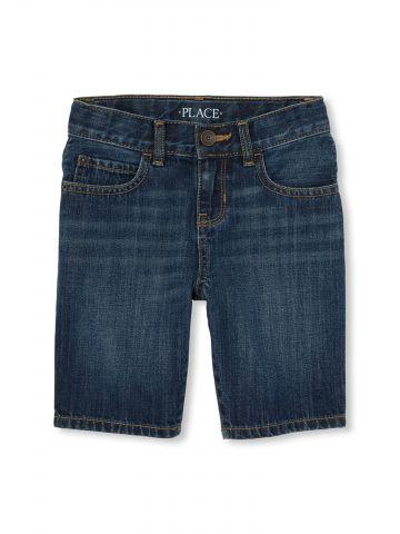 ג'ינס קצר בשטיפה כהה / בנים