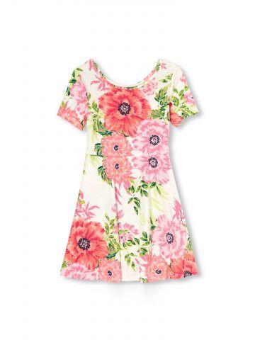 שמלת טי שירט בהדפס פרחים / בנות