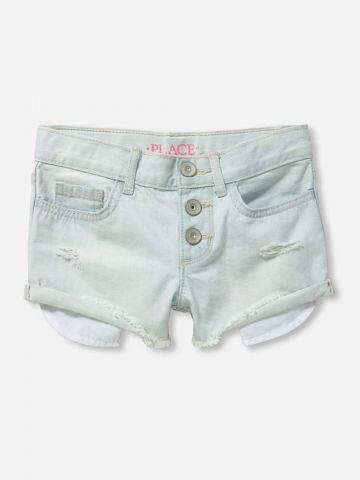 מכנסי ג'ינס קצרים בשטיפה בהירה / בנות