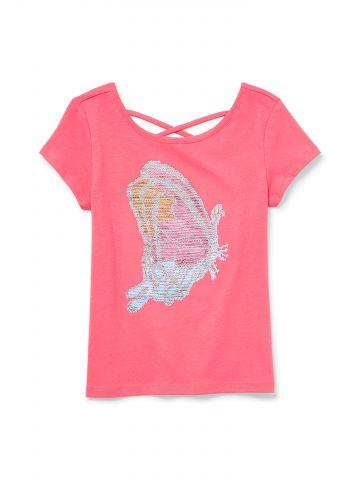 חולצת טי שירט פייאטים מתחלפים פרפר / בנות