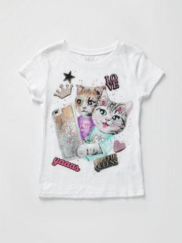 טי שירט עם הדפס חתולים / בנות