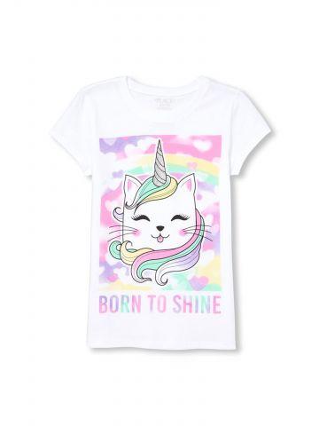 טי שירט עם הדפס Born To Shine / בנות