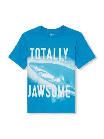 טי שירט עם הדפס כריש / בנים