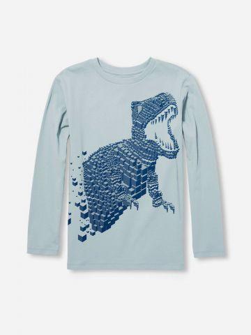 טי שירט שרוולים ארוכים עם הדפס דינוזאור / בנים