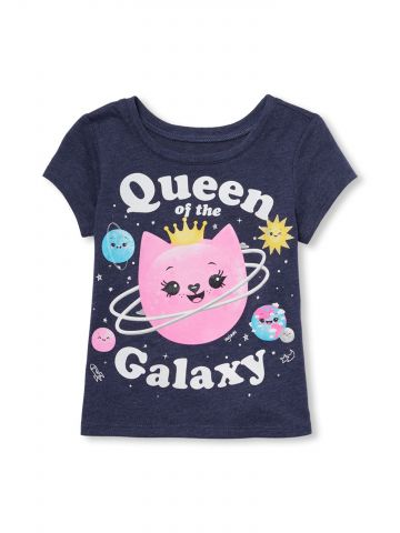 חולצת טי שירט בהדפס queen of the galaxy / בייבי בנות
