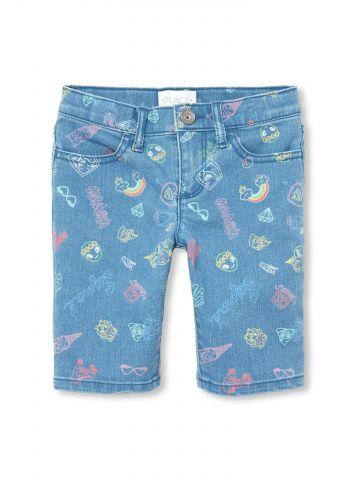 ג'ינס קצר עם הדפס cool / בנות