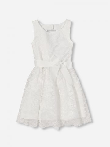 שמלת תחרה בשילוב פפיון / בנות