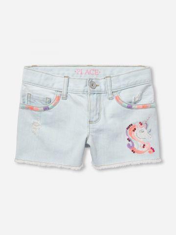 ג'ינס קצר עם עיטורי רקמה / בנות