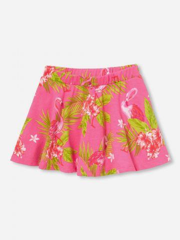 מכנסי חצאית קצרים בהדפס טרופי / בייבי בנות