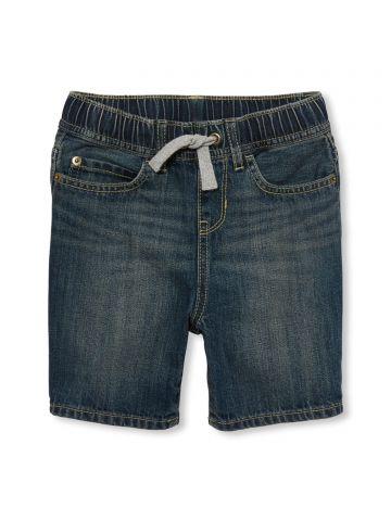 ג'ינס קצר עם גומי וקשירה / בנים