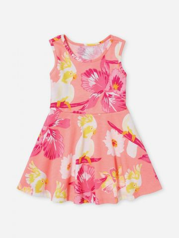שמלת רייסר בהדפס פרחים ותוכי / 0-5Y