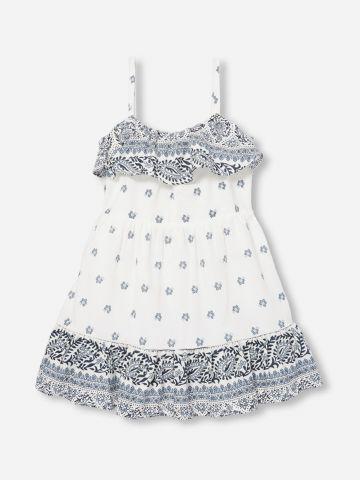 שמלת מיני עם מלמלה בהדפס פייזלי / N.B-5Y