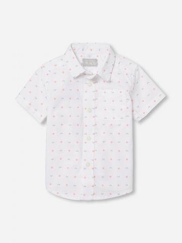 חולצה מכופתרת בהדפס גאומטרי / 0-4Y