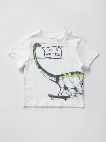 טי שירט עם הדפס דינוזאור / 9M-4Y