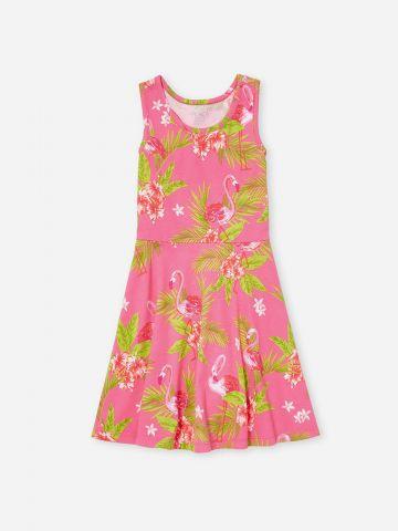 שמלת רייסר בהדפס פלמינגו / בנות