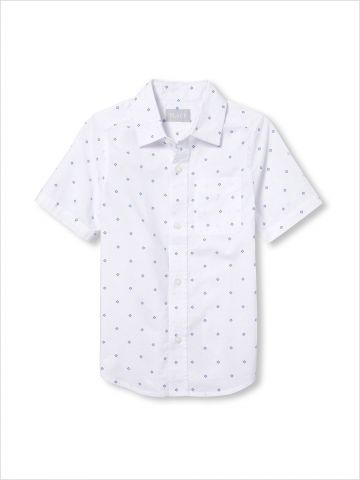 חולצה מכופתרת בהדפס מעוינים / בנים