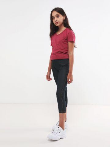 טייץ דמוי ג'ינס עם תפרים מודגשים
