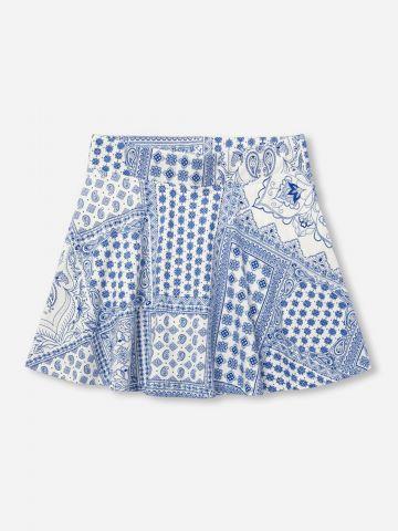 מכנסי חצאית מיני בהדפסי פייס / 6M-5Y
