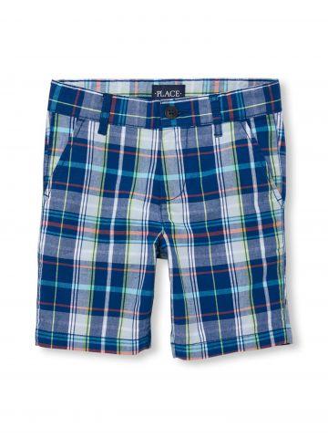 מכנסי צ'ינו קצרים בהדפס משבצות / בנים