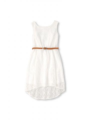 שמלת תחרה בשילוב חגורת צמה / בנות