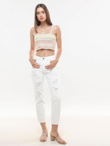 ג'ינס בגזרה ישרה עם קרעים