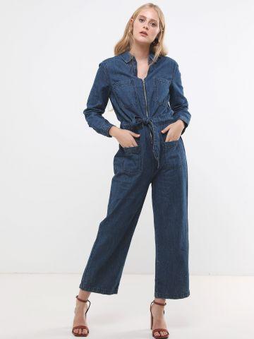 אוברול ג'ינס ארוך מתרחב עם כיסים